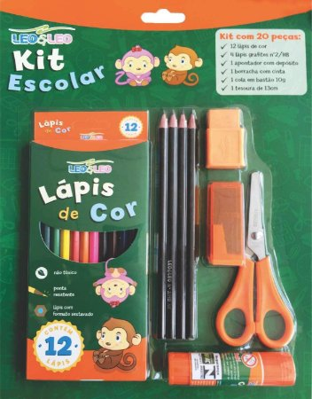 Kit Escolar Lapis de Cor 12 Cores + 6 peças Leo e Leo