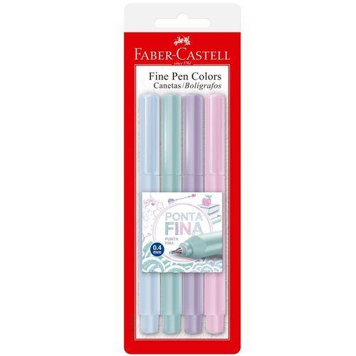 Canetas Fine Pen Colors Pastel Com 4 Cores Faber-Castell