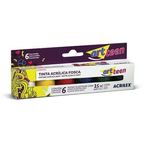 Tinta Acrílica Fosca Art Teen 15ml 6 Cores Acrilex