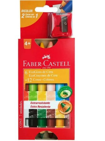 Giz de Cera 12 Cores Bicolor Ecogiz Faber- Castell
