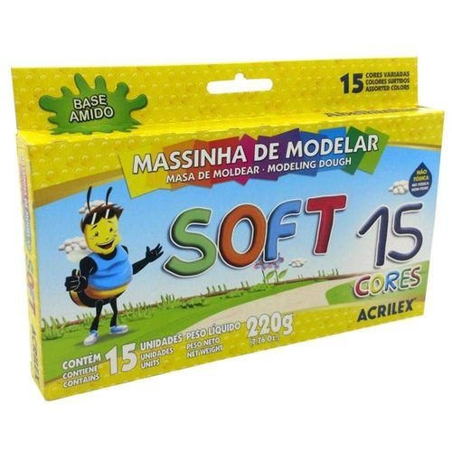 Massinha de Modelar Soft 15 Cores Acrilex