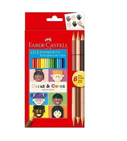 Lápis De Cor 12 Cores + 3 Lápis Tons De Pele Faber-Castell