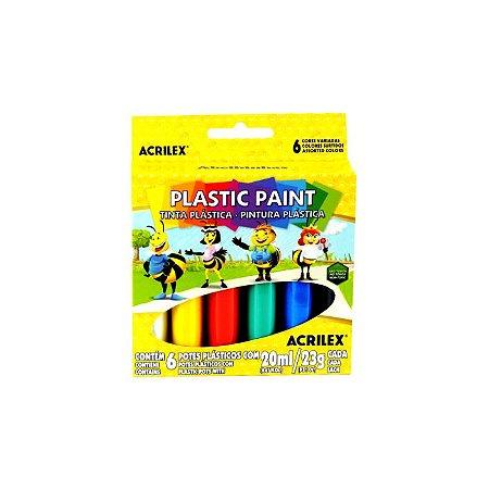 Tinta Plástica Plastic Paint C/6 cores 20ml Acrilex