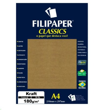 Papel Kraft Natural A4 180g c/50 folhas Filipaper