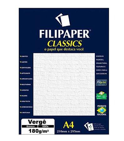Papel Vergê A4 Branco C/50 Folhas Filipaper