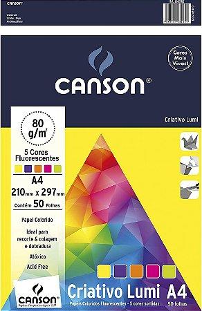Papel Colorido A4 80g/m² Criativo Lumi  5 Cores C/50 Folhas Canson