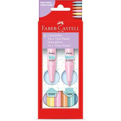 Canetinha Vai e Vem Pastel 6 Cores Faber Castell