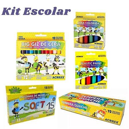 Kit Material Escolar 5 Peças Acrilex