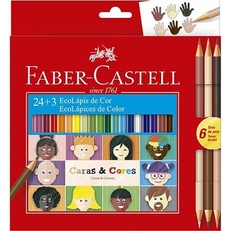 Lápis de Cor Caras e Cores 24 Cores + 6 Tons De Pele Faber Castell