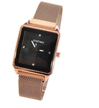 Relógio Quartz Quadrado Rosa R.SAR9U05 Santino