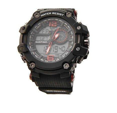 Relógio LCD Santino Preto + Vermelho R.SAR11U69