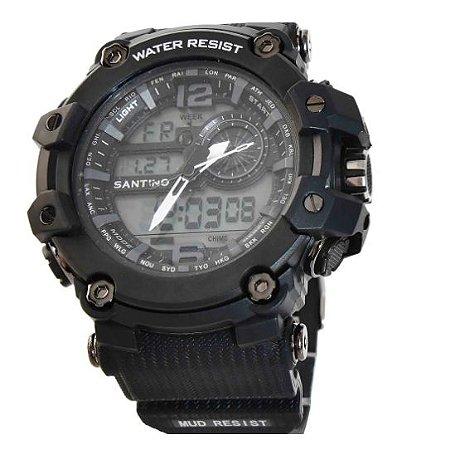 Relógio LDC Santino Preto +Branco R.SAR11U42