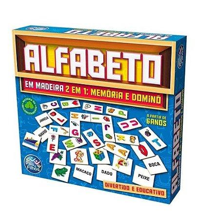 Jogo Didático Alfabeto Memória E Dominó Em Madeira - Pais E Filhos