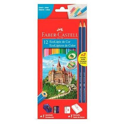 Lápis Faber-Castell 12 Cores + 2 Lápis Grafite + 1 Apontador + 1 Borracha