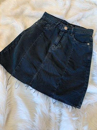 Saia Jeans Preta 34
