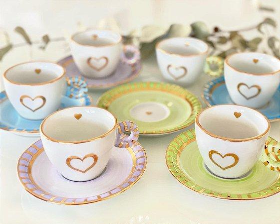 Jogo Xícara Café Candy Colors