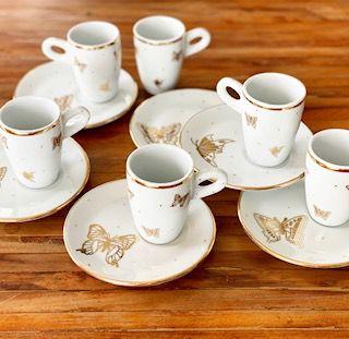 Xícaras Café / Capuccino Borboletas Ouro