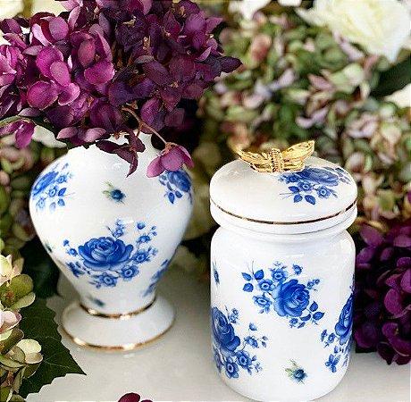 Vaso e Pote Rosas Azul