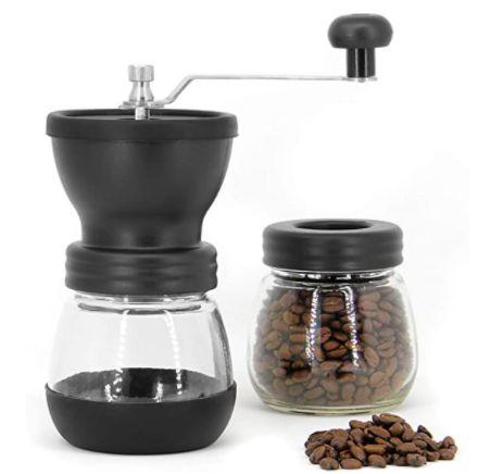 MOEDOR MANUAL DE GRÃOS DE CAFÉ EM VIDRO