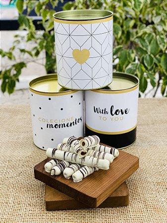 Lata Personalizada com waffle de chocolate branco | LINHA PREMIUM