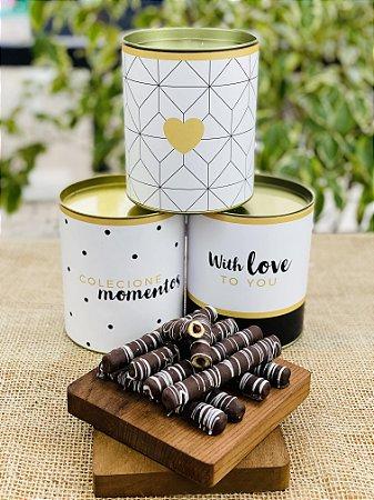 Lata Personalizada com waffle de chocolate | Linha Black&White