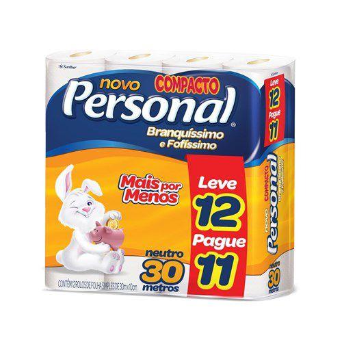 Papel Higiênico Personal Neutro 30m Folha Simples Oferta Pacote 12Un