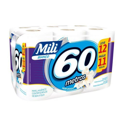 Papel Higiênico Mili Bianco Perfumado Folha Simples 60M Pacote 12 Unidades