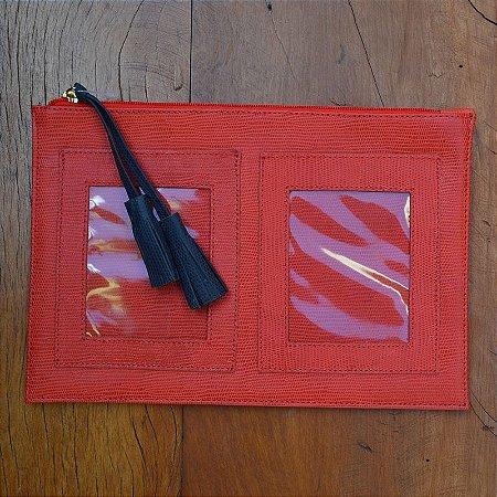 Porta Passaporte Couro Vermelho