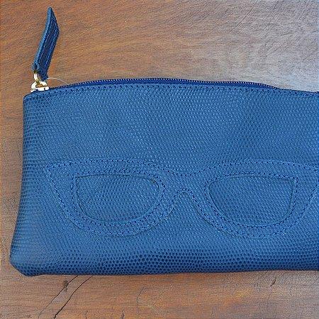Porta Óculos Couro Azul Marinho