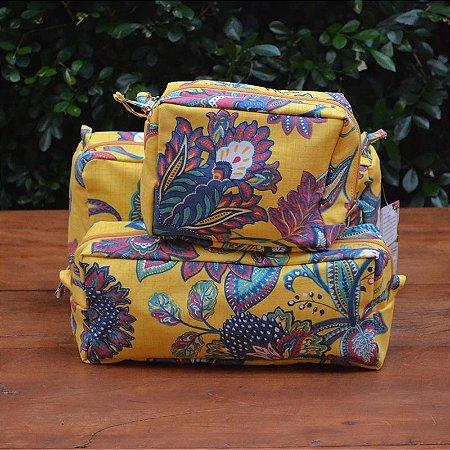 Kit 3 peças - Necessaire Tapeçaria - Floral Amarelo