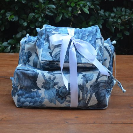 Kit 3 peças - Necessaire Tapeçaria - Floral Azul
