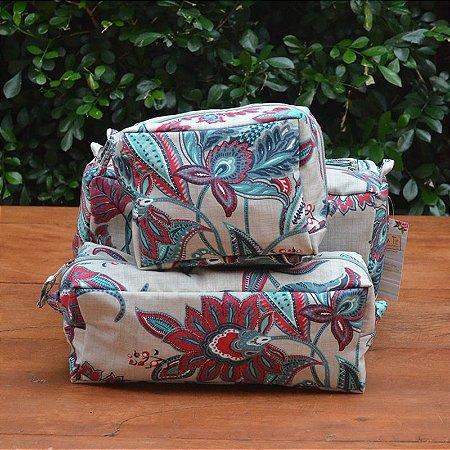 Kit 3 peças - Necessaire Tapeçaria - Floral Verde Rosa