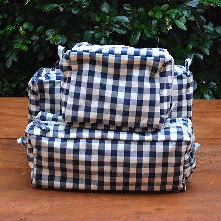 Kit 3 peças - Necessaire Tapeçaria - Xadrez Azul Marinho