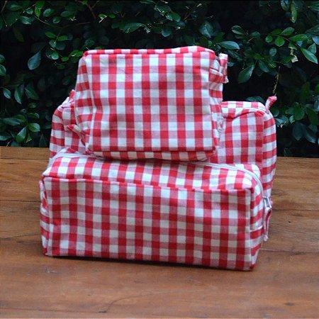 Kit 3 peças - Necessaire Tapeçaria - Xadrez Vermelho