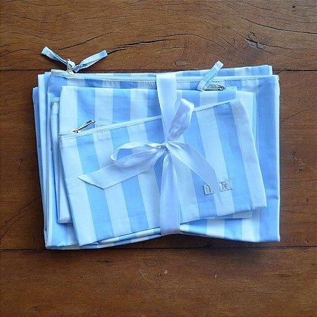Kit Saquinhos Listrado Azul Claro - 4 peças