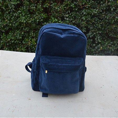Mochila em Plush Azul Marinho - Grande