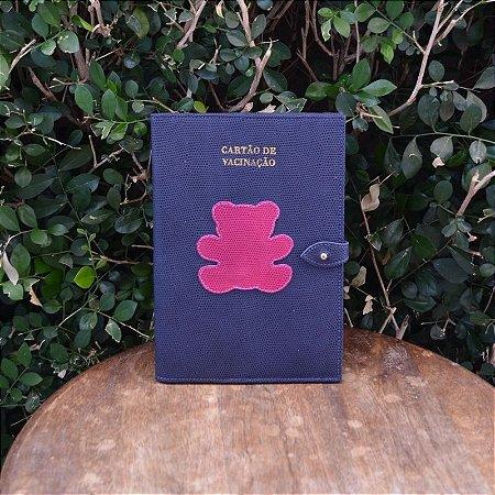 Porta Vacina Azul Marinho com Urso Pink
