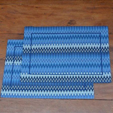 Jogo Americano Tecido Zig Zag Azul - 2 peças