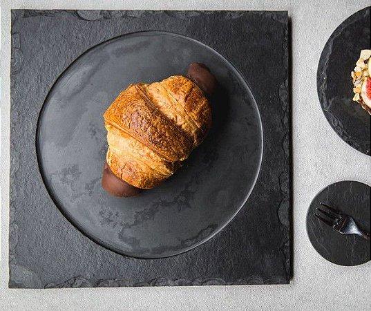Prato de Ardósia Quadrado com Borda Rústico 30cm