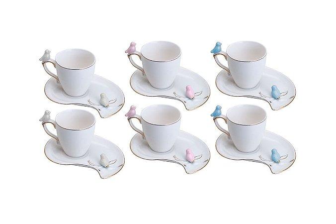 CONJUNTO 6 XÍCARAS CAFÉ PORCELANA CUTE BIRDS DESIGN PLATE COLORIDO 90ML