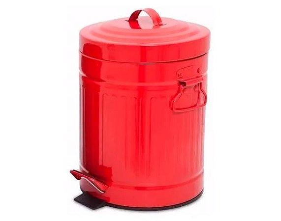 Lixeira de Aço Retrô Brahzu 5 litros Vermelha