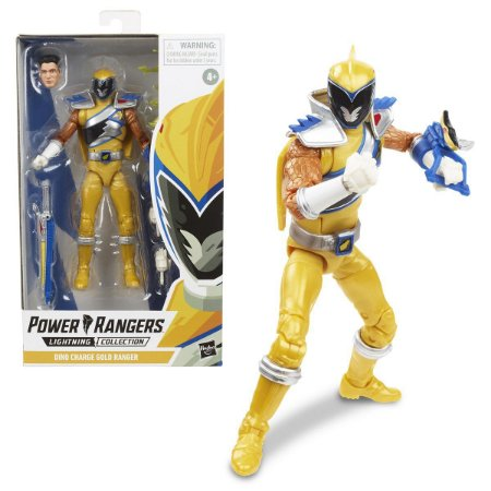 Figure Articulada - Power Ranger Lighting Collection - Dino Charge Gold Ranger (Pronta Entrega)