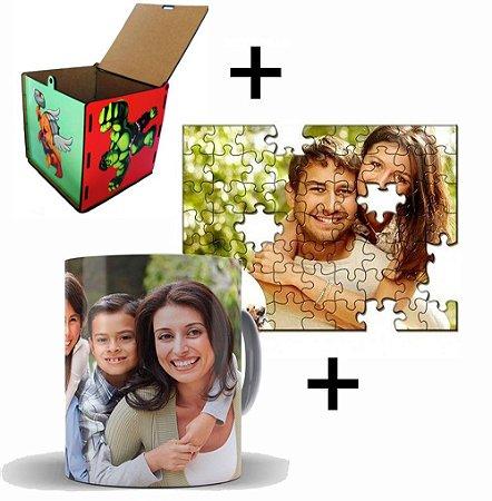 Kit Fique em Casa Quebra Cabeça + caneca Personalizada + Porta Treco