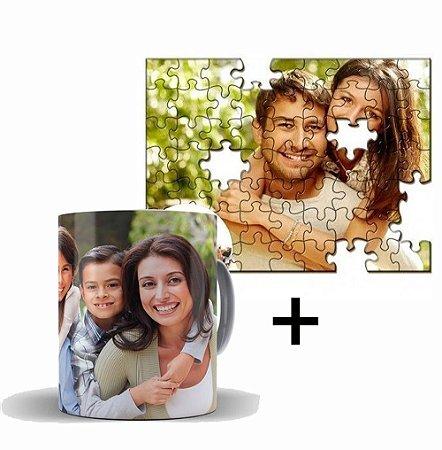 Kit Caneca Coffe + Quebra-Cabeça Personalizado com Fotos  - 1 Unidade