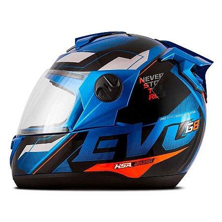 Capacete Pro Tork Evolution G8 EVO Azul - Laranja