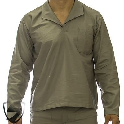 Camisa Profissional em Brim Manga Longa Gola Itália Cinza