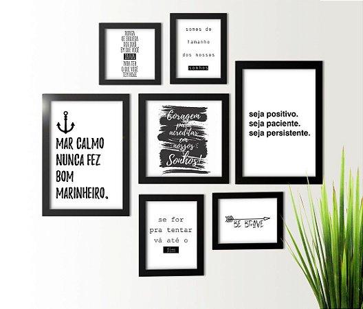 Kit 7 Quadros Com Frases Motivacionais