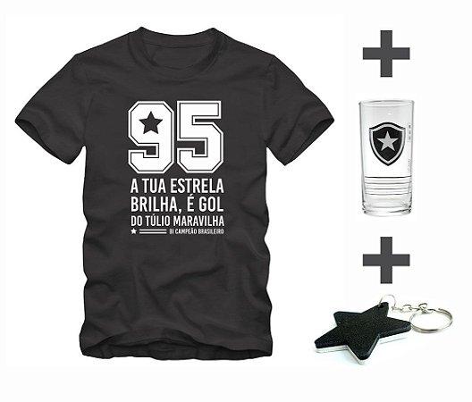 Kit Camisa Botafogo 1995 + Copo + Chaveiro