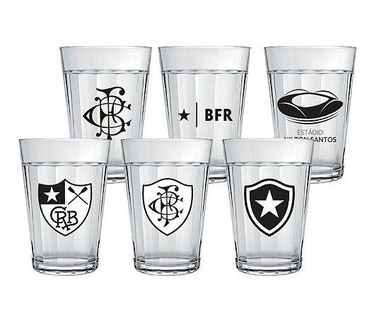 Conjunto 6 Copos Americanos Botafogo Licenciado - Escudos Históricos