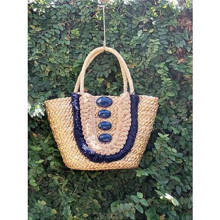 Bolsa Palha Pedras Azul Ousar Handmade